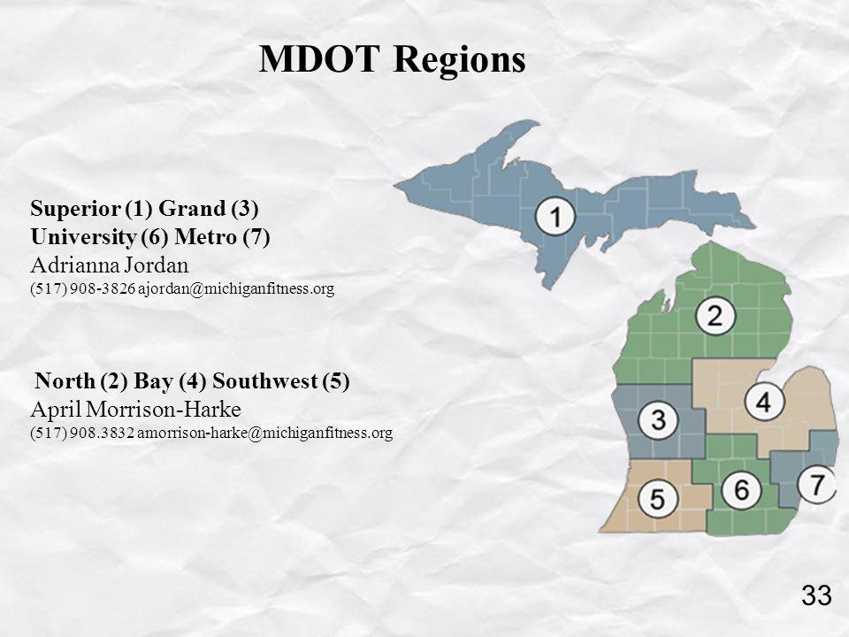 MDOT Regions Superior (1) Grand (3) University (6) Metro (7) Adrianna Jordan (517) 908-3826 ajordan@michiganfitness.org North (2) Bay (4) Southwest (5) April Morrison-Harke (517) 908.3832 amorrison-harke@michiganfitness.org 33