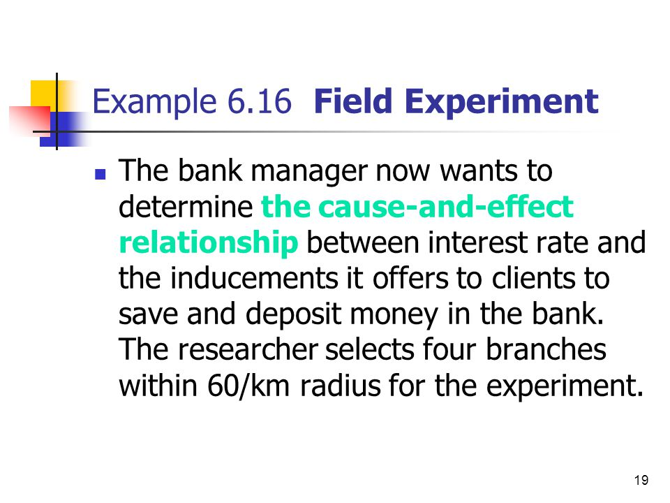 19 Example 6.16 Field Experiment The bank manager now wants to determine the cause-and-effect relationship between interest rate and the inducements i