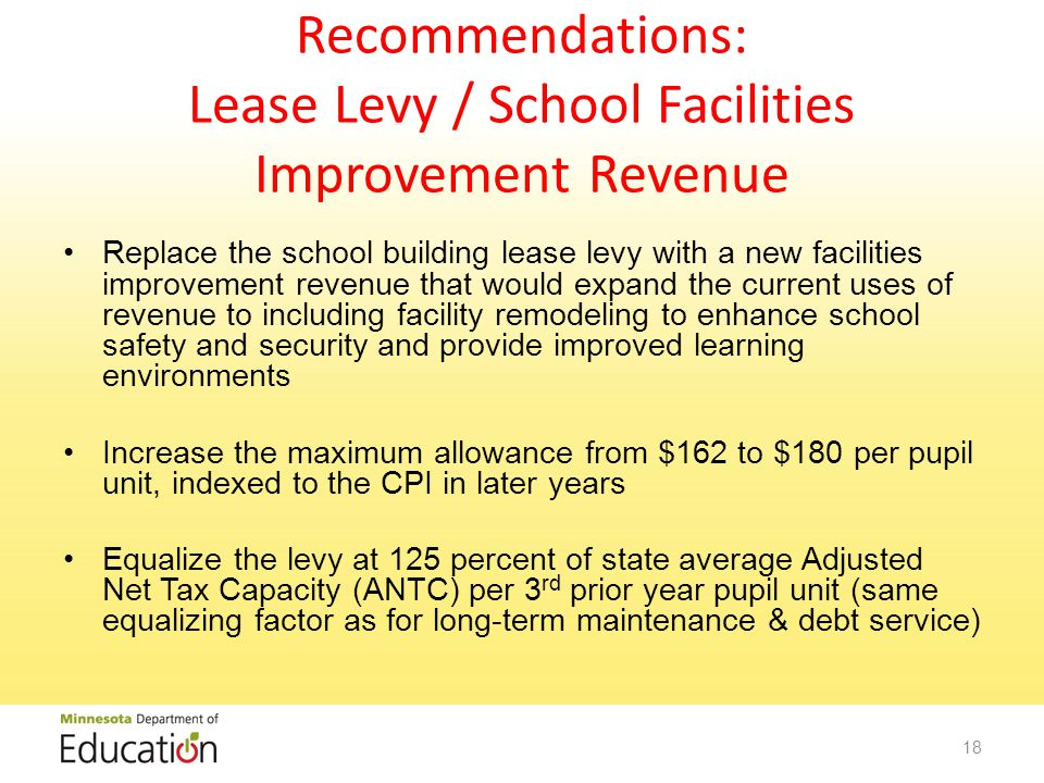 Recommendations: Lease Levy / School Facilities Improvement Revenue Replace the school building lease levy with a new facilities improvement revenue that would expand the current uses of revenue to including facility remodeling to enhance school safety and security and provide improved learning environments Increase the maximum allowance from $162 to $180 per pupil unit, indexed to the CPI in later years Equalize the levy at 125 percent of state average Adjusted Net Tax Capacity (ANTC) per 3 rd prior year pupil unit (same equalizing factor as for long-term maintenance & debt service) 18
