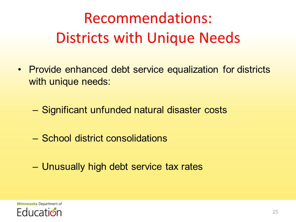 Recommendations: Districts with Unique Needs Provide enhanced debt service equalization for districts with unique needs: –Significant unfunded natural disaster costs –School district consolidations –Unusually high debt service tax rates 25