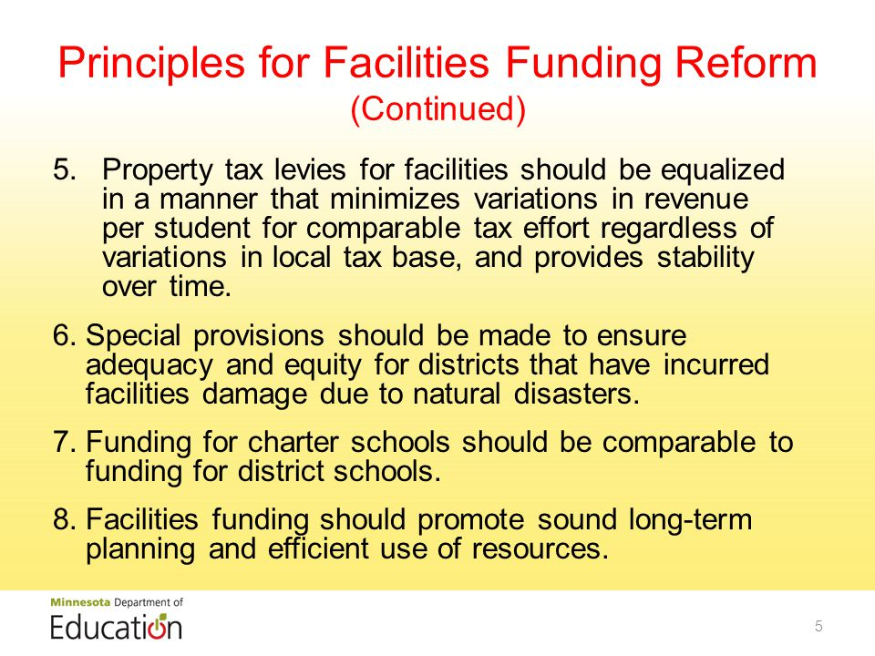 Working Group Recommendations: Long-Term Facilities Maintenance Establish a new long-term facilities maintenance revenue program to replace the current alternative facilities, deferred maintenance and health & safety revenue programs, which provides adequate, equitable and sustainable long-term maintenance funding for all school districts statewide.
