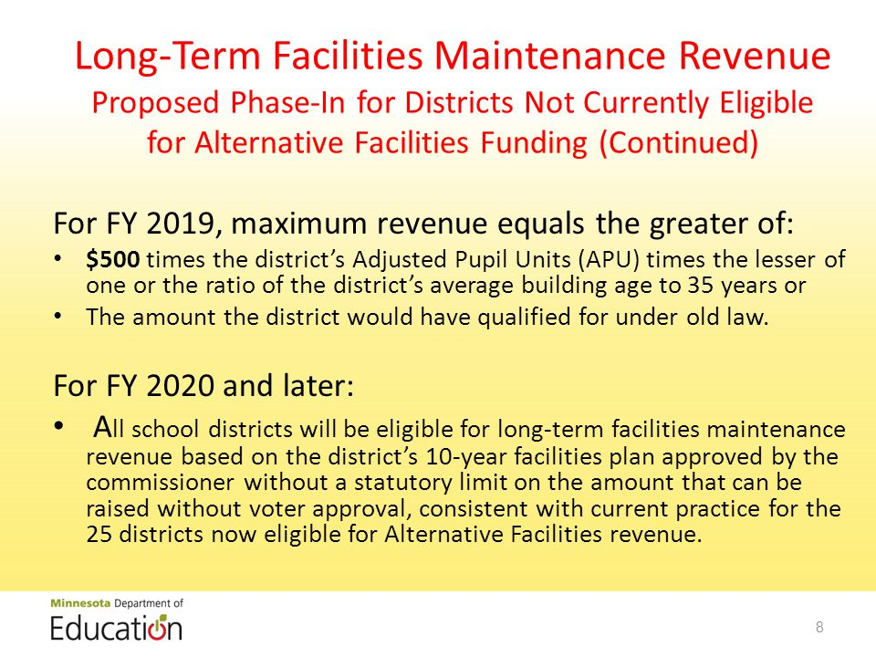 Long-Term Facilities Maintenance Revenue Proposed Phase-In for Districts Not Currently Eligible for Alternative Facilities Funding (Continued) For FY 2019, maximum revenue equals the greater of: $500 times the district's Adjusted Pupil Units (APU) times the lesser of one or the ratio of the district's average building age to 35 years or The amount the district would have qualified for under old law.