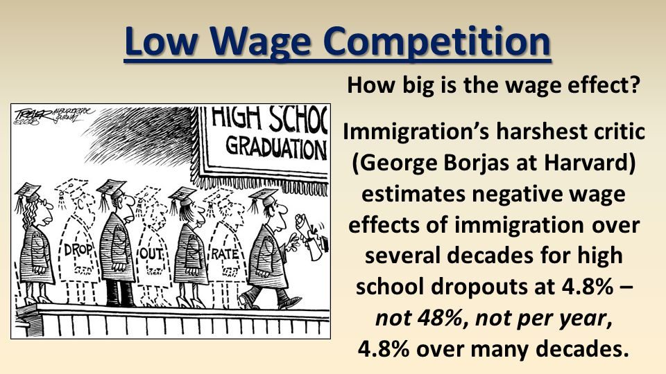 How big is the wage effect? Immigration's harshest critic (George Borjas at Harvard) estimates negative wage effects of immigration over several decad