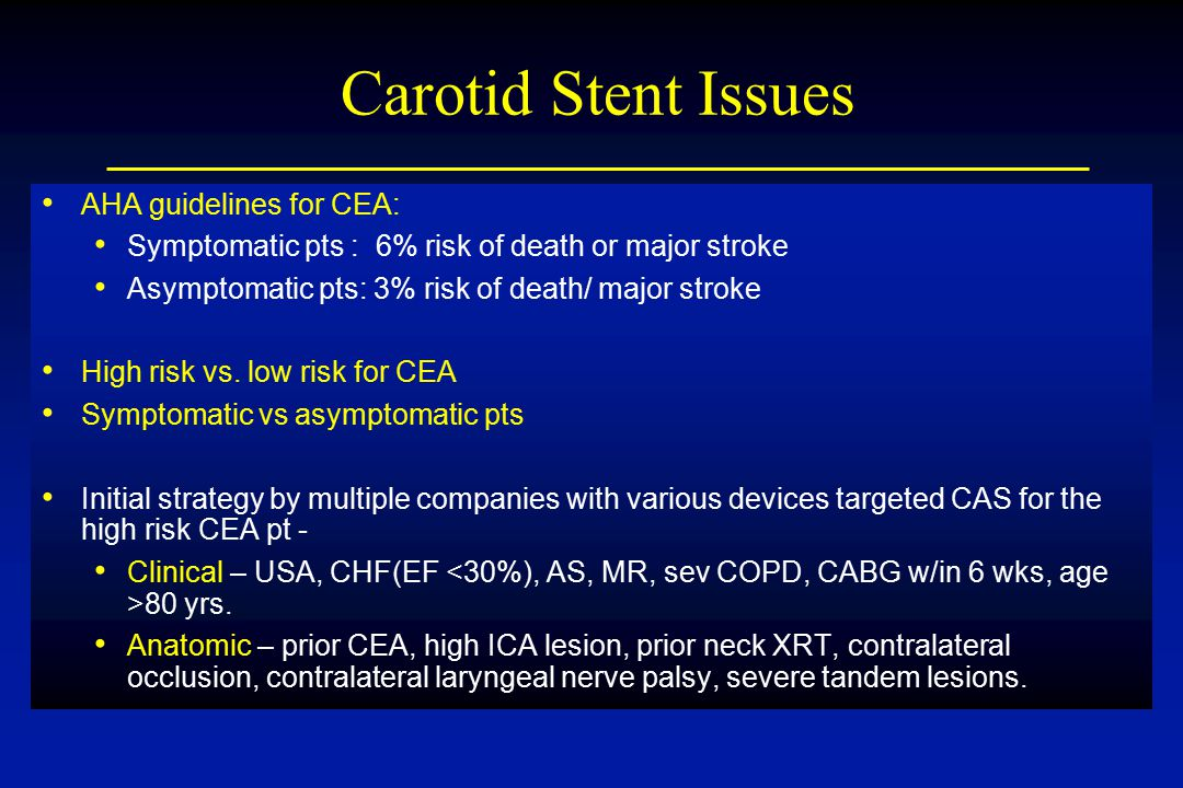 Carotid Stent Issues AHA guidelines for CEA: Symptomatic pts : 6% risk of death or major stroke Asymptomatic pts: 3% risk of death/ major stroke High risk vs.