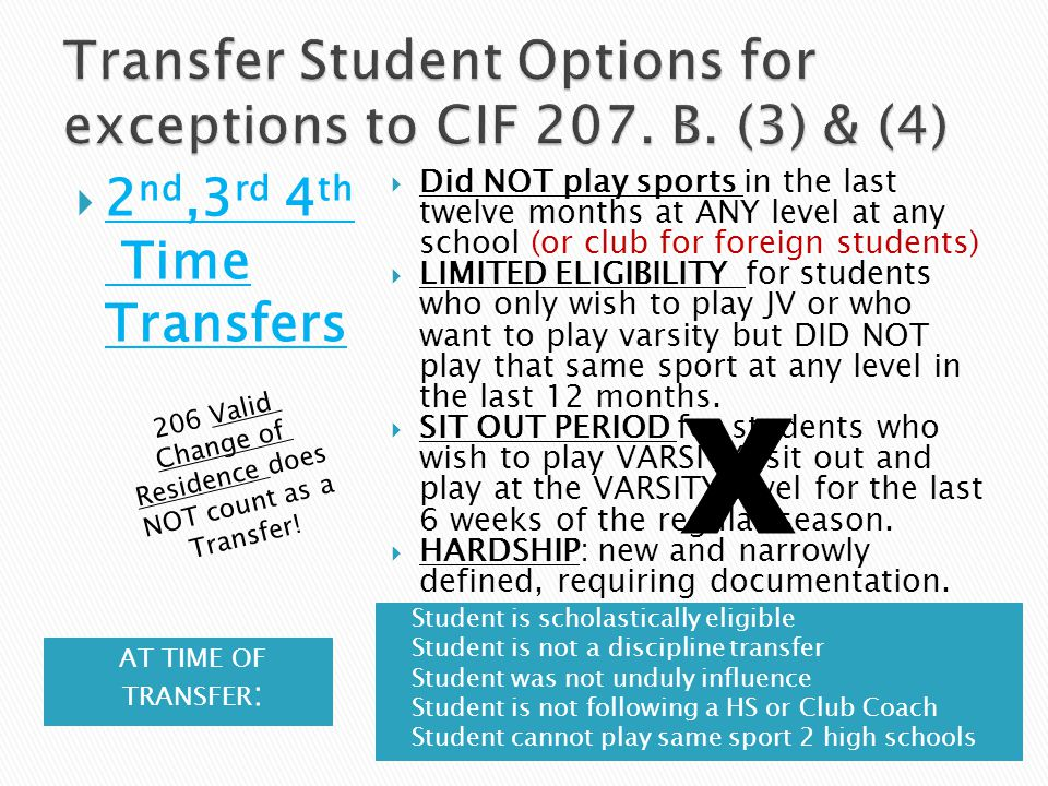  2 nd,3 rd 4 th Time Transfers  Did NOT play sports in the last twelve months at ANY level at any school (or club for foreign students)  LIMITED ELIGIBILITY for students who only wish to play JV or who want to play varsity but DID NOT play that same sport at any level in the last 12 months.