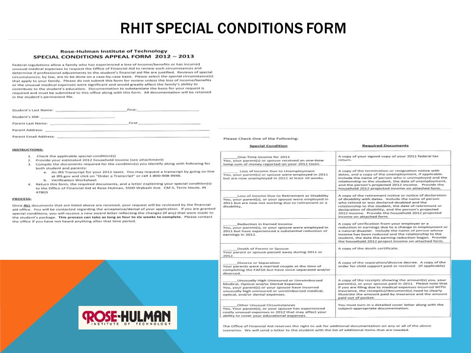 RHIT SPECIAL CONDITIONS FORM