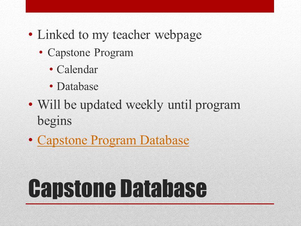 Capstone Database Linked to my teacher webpage Capstone Program Calendar Database Will be updated weekly until program begins Capstone Program Database