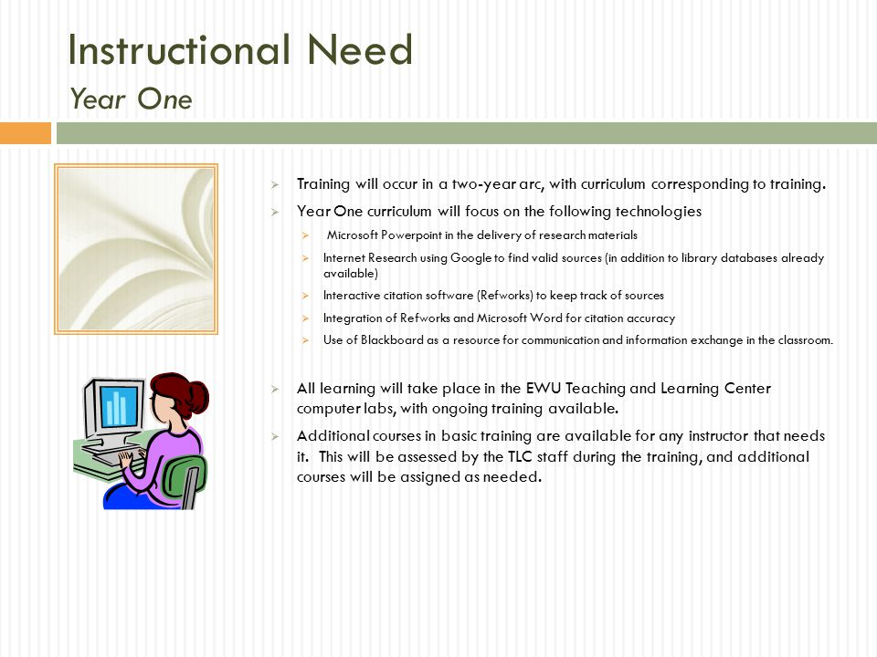 Instructional Need Year One  Training will occur in a two-year arc, with curriculum corresponding to training.