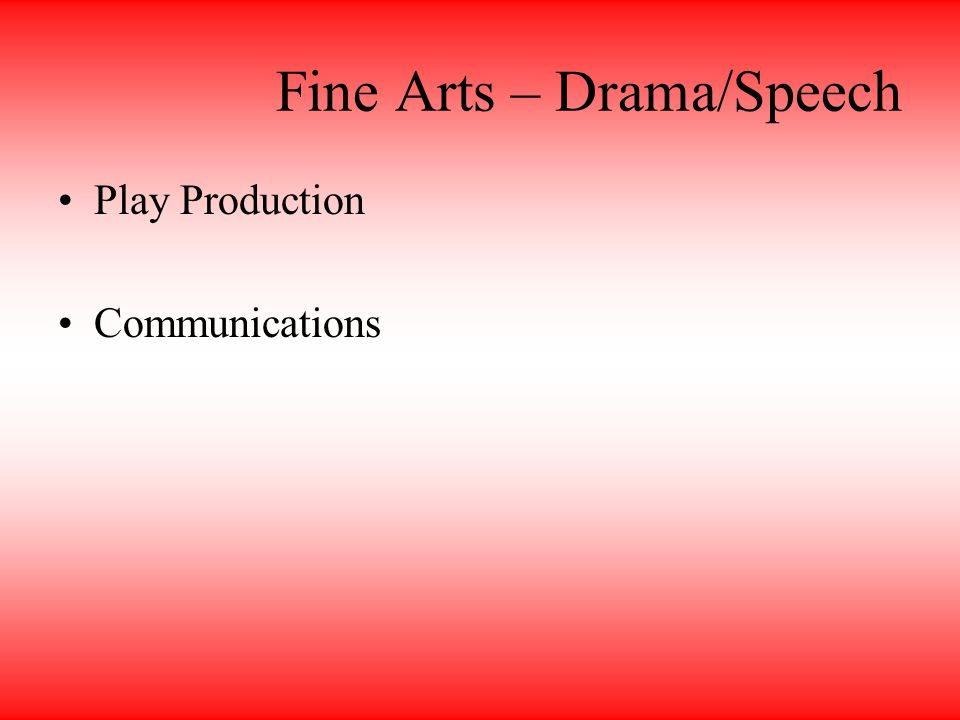 Fine Arts – Drama/Speech Play Production Communications