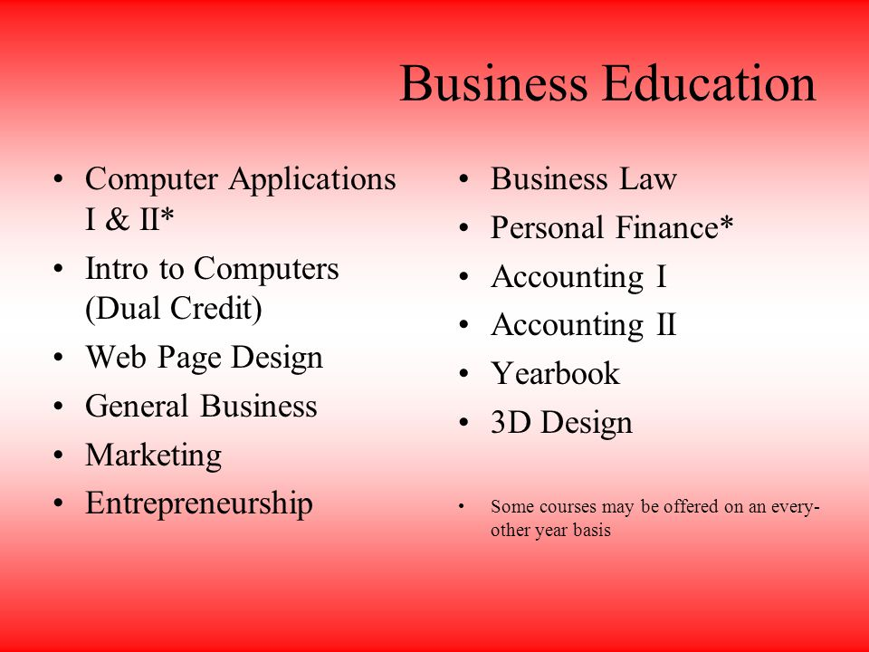Business Education Computer Applications I & II* Intro to Computers (Dual Credit) Web Page Design General Business Marketing Entrepreneurship Business Law Personal Finance* Accounting I Accounting II Yearbook 3D Design Some courses may be offered on an every- other year basis