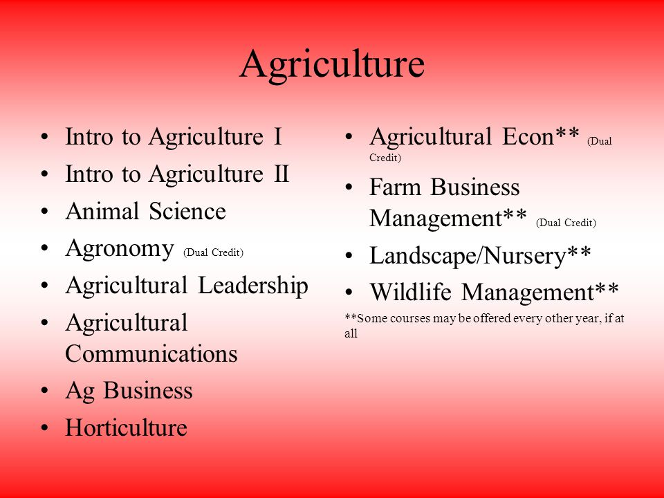 Agriculture Intro to Agriculture I Intro to Agriculture II Animal Science Agronomy (Dual Credit) Agricultural Leadership Agricultural Communications Ag Business Horticulture Agricultural Econ** (Dual Credit) Farm Business Management** (Dual Credit) Landscape/Nursery** Wildlife Management** **Some courses may be offered every other year, if at all