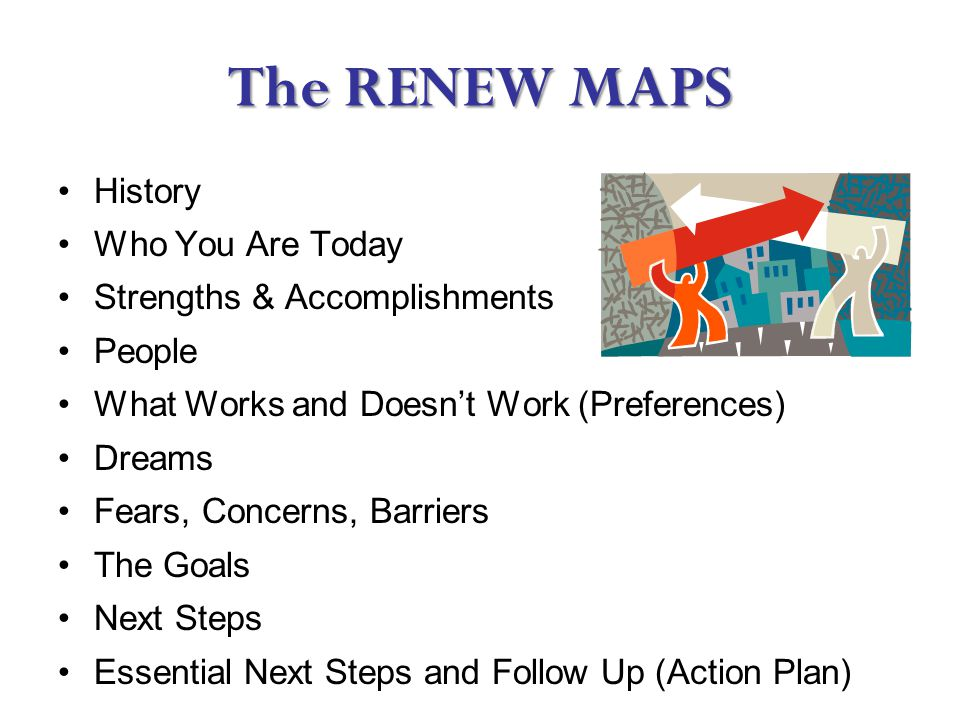 The RENEW MAPS History Who You Are Today Strengths & Accomplishments People What Works and Doesn't Work (Preferences) Dreams Fears, Concerns, Barriers The Goals Next Steps Essential Next Steps and Follow Up (Action Plan)