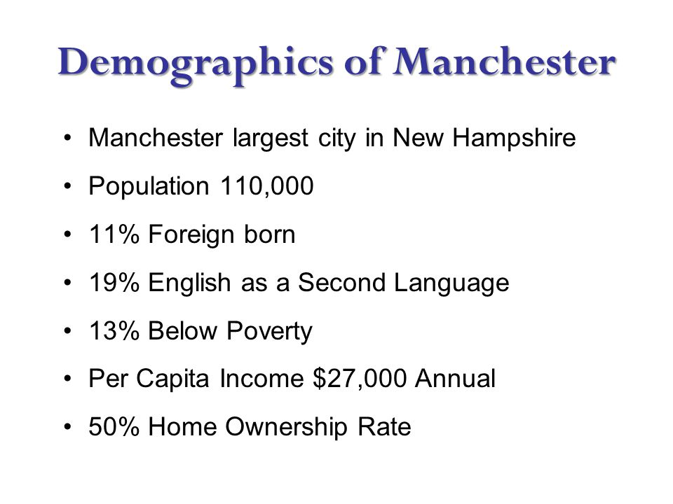 Demographics of Manchester Manchester largest city in New Hampshire Population 110,000 11% Foreign born 19% English as a Second Language 13% Below Poverty Per Capita Income $27,000 Annual 50% Home Ownership Rate