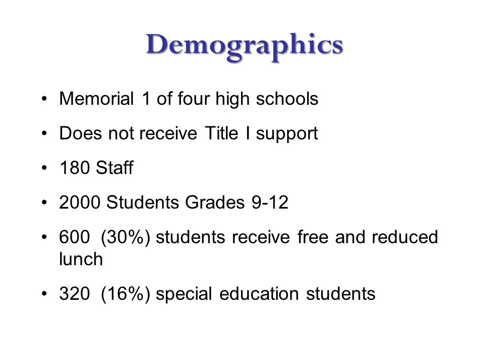 Demographics Demographics Memorial 1 of four high schools Does not receive Title I support 180 Staff 2000 Students Grades 9-12 600 (30%) students receive free and reduced lunch 320 (16%) special education students