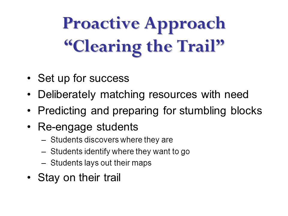 Proactive Approach Clearing the Trail Set up for success Deliberately matching resources with need Predicting and preparing for stumbling blocks Re-engage students –Students discovers where they are –Students identify where they want to go –Students lays out their maps Stay on their trail