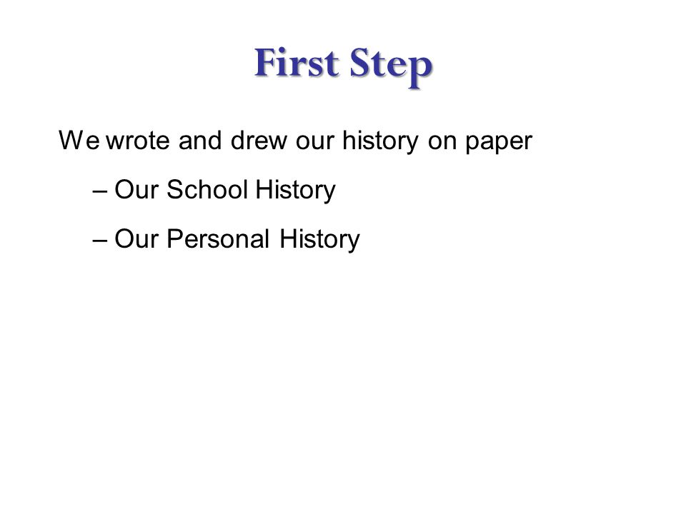 First Step We wrote and drew our history on paper –Our School History –Our Personal History