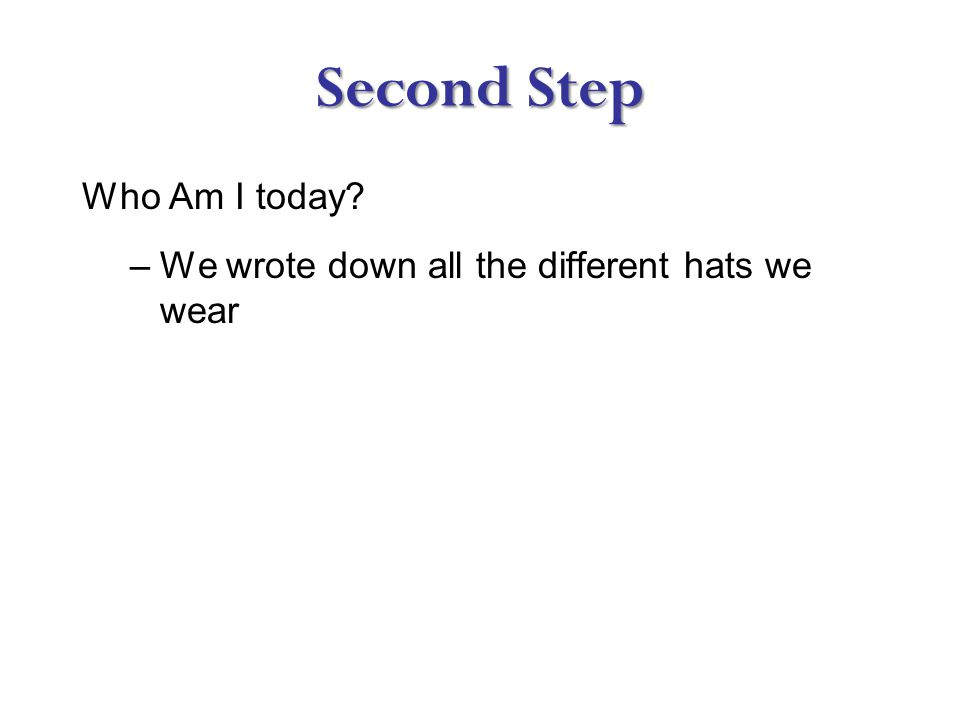 Second Step Who Am I today –We wrote down all the different hats we wear
