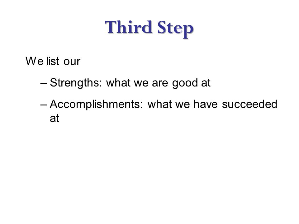 Third Step We list our –Strengths: what we are good at –Accomplishments: what we have succeeded at