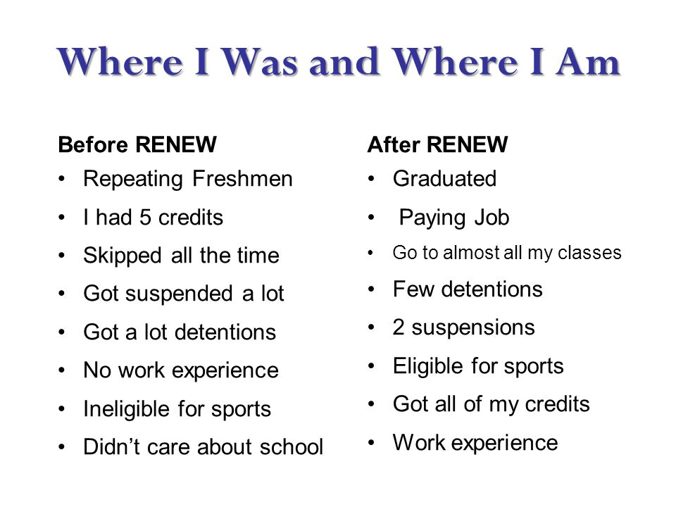 Where I Was and Where I Am Before RENEWAfter RENEW Repeating Freshmen I had 5 credits Skipped all the time Got suspended a lot Got a lot detentions No work experience Ineligible for sports Didn't care about school Graduated Paying Job Go to almost all my classes Few detentions 2 suspensions Eligible for sports Got all of my credits Work experience