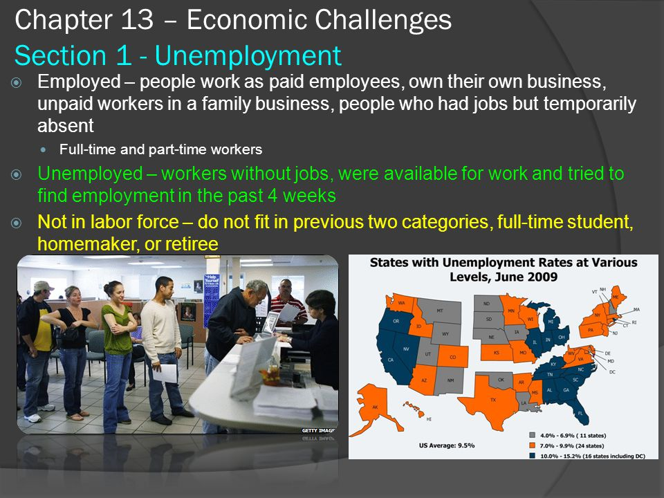 Do Now Chapter 13 – Economic Challenges Use the following formula to calculate the unemployment rate: Unemployment rate = Number of people unemployed