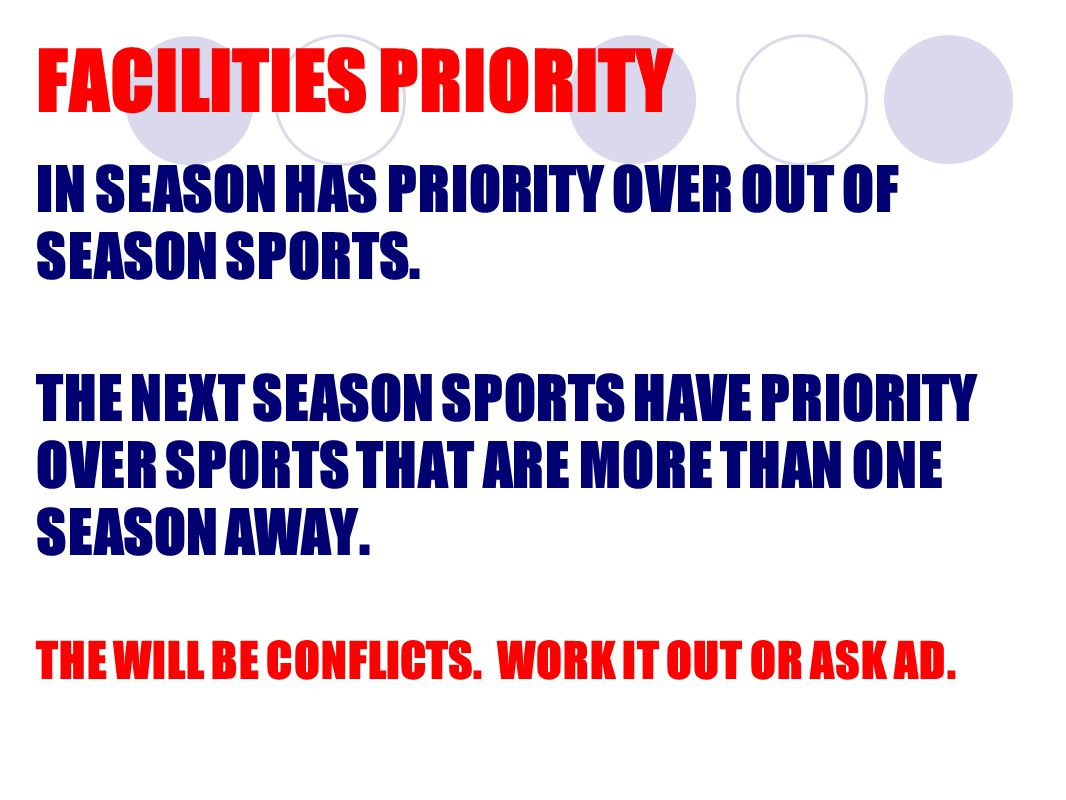 FACILITIES PRIORITY IN SEASON HAS PRIORITY OVER OUT OF SEASON SPORTS.