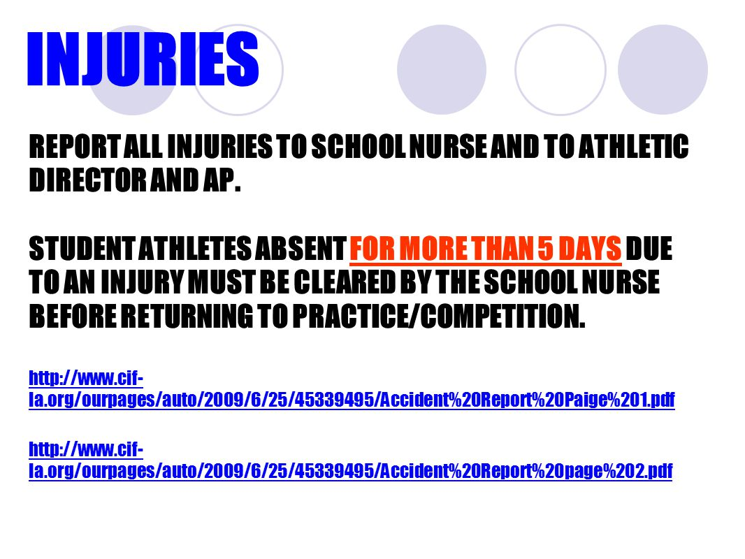 INJURIES REPORT ALL INJURIES TO SCHOOL NURSE AND TO ATHLETIC DIRECTOR AND AP.