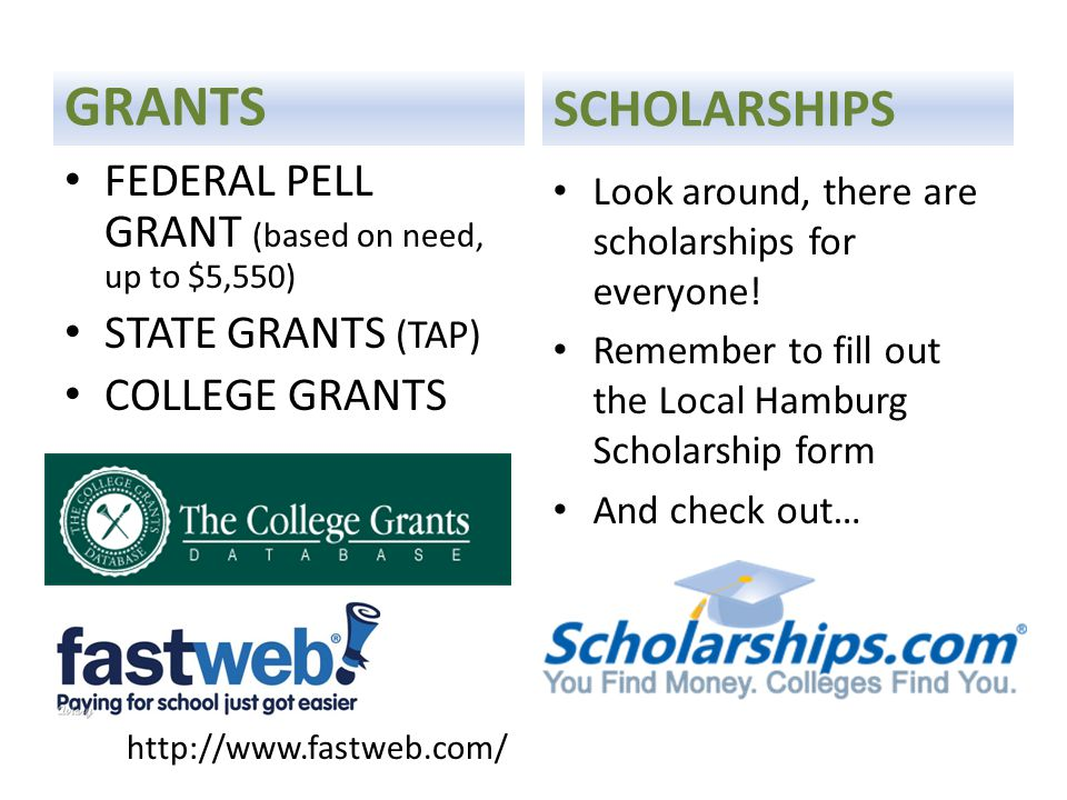 GRANTS FEDERAL PELL GRANT (based on need, up to $5,550) STATE GRANTS (TAP) COLLEGE GRANTS SCHOLARSHIPS Look around, there are scholarships for everyone.