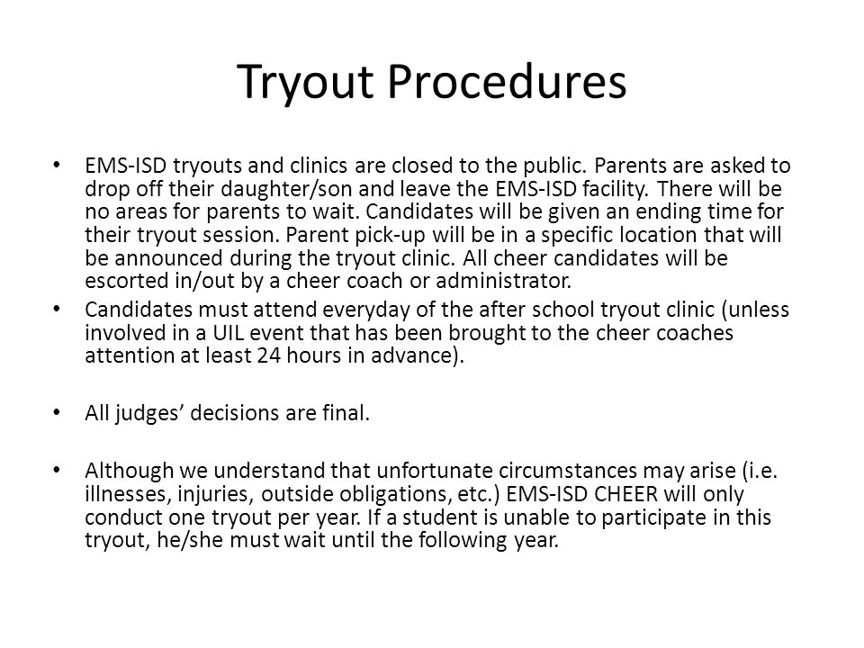 Tryout Procedures Candidates must meet all extracurricular participation criteria in academics, citizenship, and attendance for the current school year.