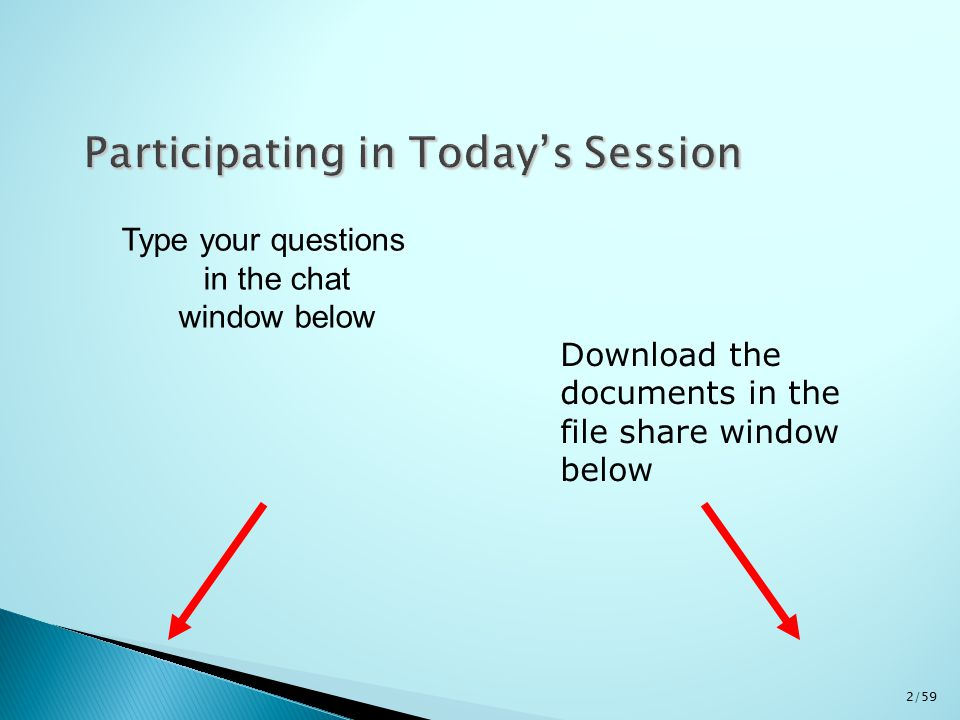Type your questions in the chat window below Download the documents in the file share window below 2/59