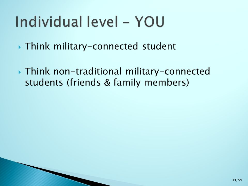  Think military-connected student  Think non-traditional military-connected students (friends & family members) 34/59