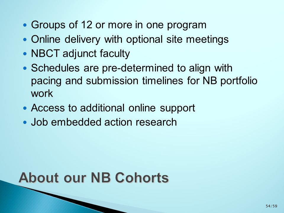 Groups of 12 or more in one program Online delivery with optional site meetings NBCT adjunct faculty Schedules are pre-determined to align with pacing and submission timelines for NB portfolio work Access to additional online support Job embedded action research 54/59