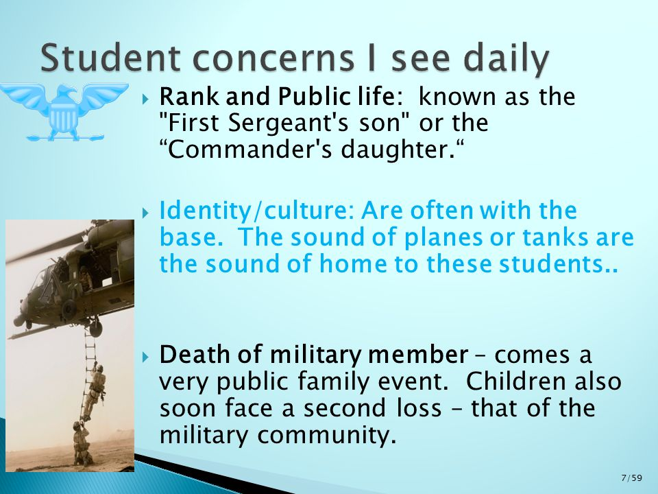  Rank and Public life: known as the First Sergeant s son or the Commander s daughter.  Identity/culture: Are often with the base.