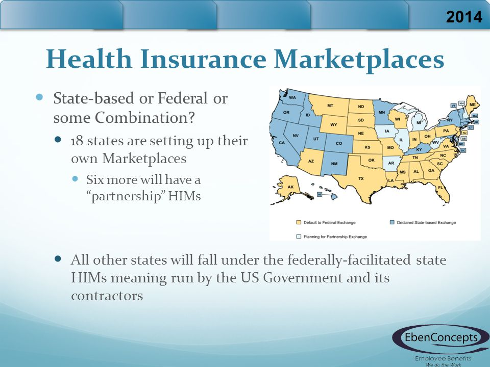 "Health Insurance Marketplaces State-based or Federal or some Combination? 18 states are setting up their own Marketplaces Six more will have a ""partne"