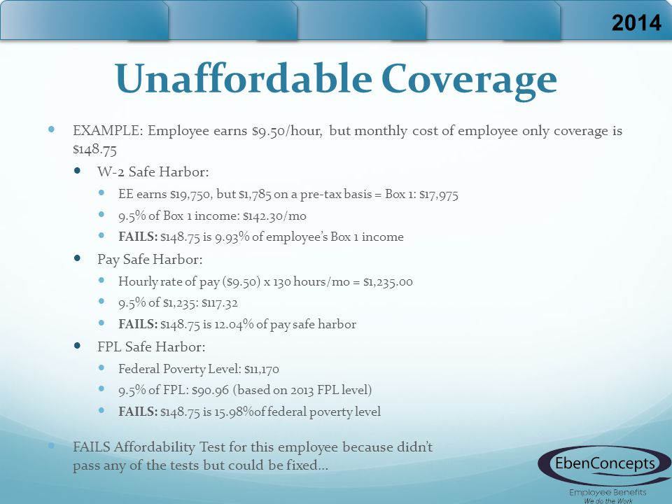 Unaffordable Coverage EXAMPLE: Employee earns $9.50/hour, but monthly cost of employee only coverage is $148.75 W-2 Safe Harbor: EE earns $19,750, but $1,785 on a pre-tax basis = Box 1: $17,975 9.5% of Box 1 income: $142.30/mo FAILS: $148.75 is 9.93% of employee's Box 1 income Pay Safe Harbor: Hourly rate of pay ($9.50) x 130 hours/mo = $1,235.00 9.5% of $1,235: $117.32 FAILS: $148.75 is 12.04% of pay safe harbor FPL Safe Harbor: Federal Poverty Level: $11,170 9.5% of FPL: $90.96 (based on 2013 FPL level) FAILS: $148.75 is 15.98%of federal poverty level FAILS Affordability Test for this employee because didn't pass any of the tests but could be fixed… 2014