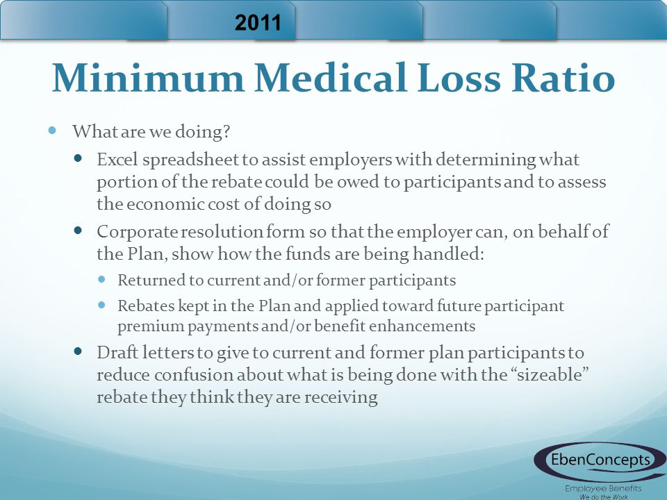 Minimum Medical Loss Ratio What are we doing? Excel spreadsheet to assist employers with determining what portion of the rebate could be owed to parti