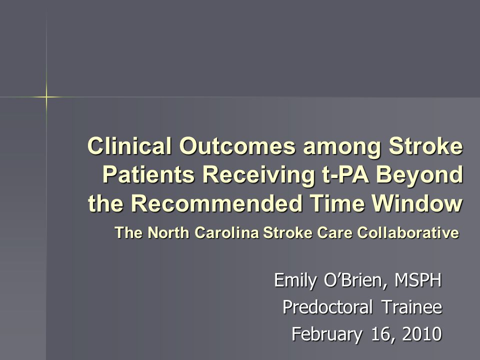 Receipt of t-PA 3 – 4.5 hours after symptom onset* and adverse outcomes † (NCSCC: 2005 – 2010) Model Description OR (95% CI) Model 1.