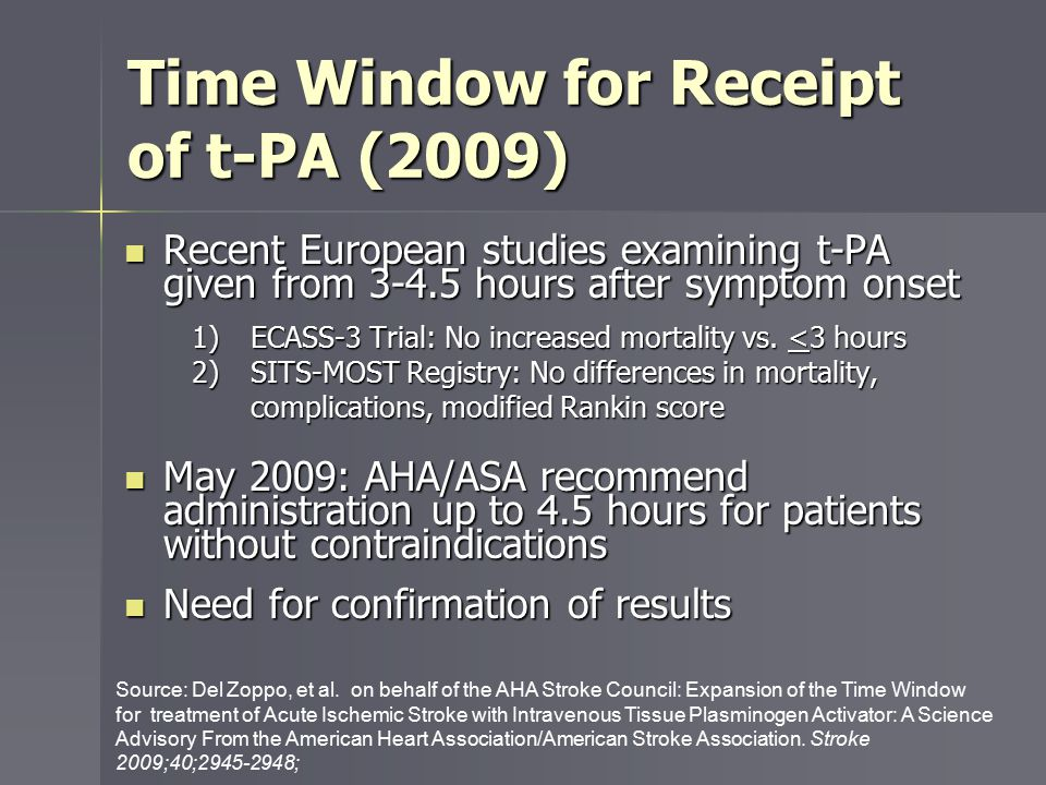 Study Aims 1) Estimate the association between use of t-PA beyond 3-hour time interval since symptom onset with 1) Length of hospital stay 2) Adverse clinical outcomes  Hemorrhagic complications  In-hospital death