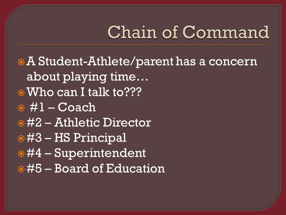  A Student-Athlete/parent has a concern about playing time…  Who can I talk to??.