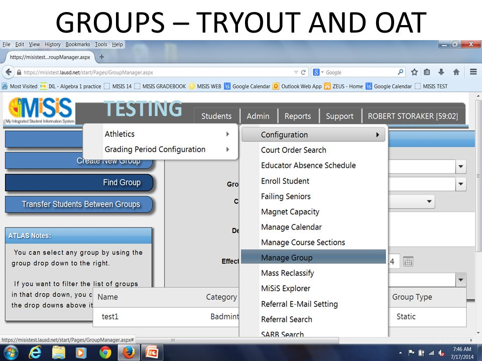 GROUPS – TRYOUT AND OAT