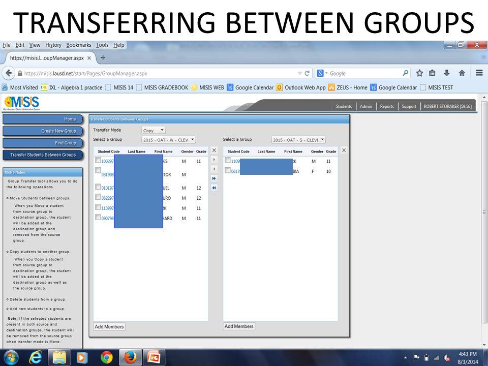 TRANSFERRING BETWEEN GROUPS