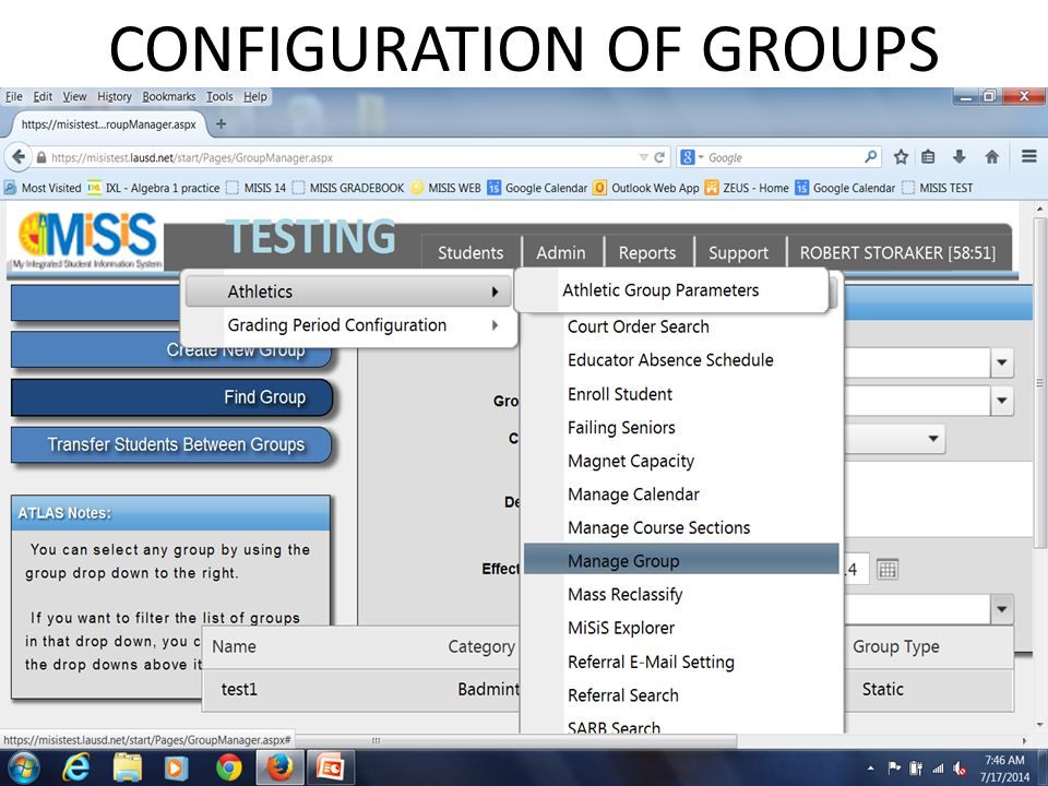 CONFIGURATION OF GROUPS
