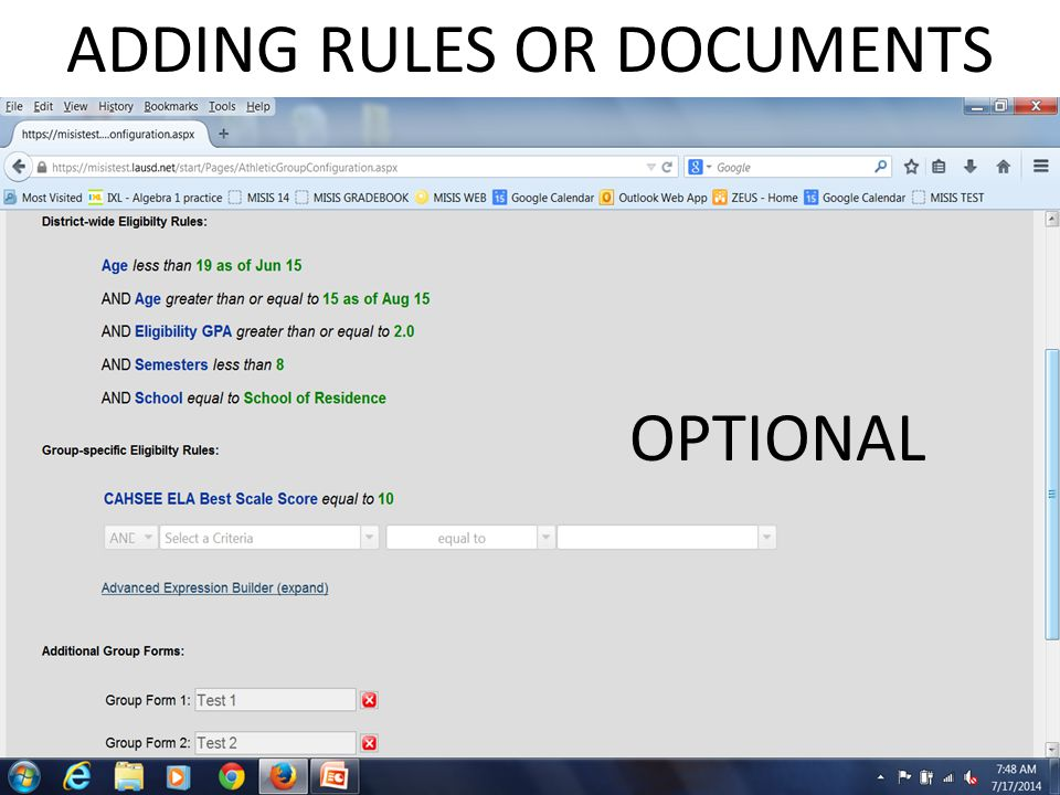 ADDING RULES OR DOCUMENTS OPTIONAL