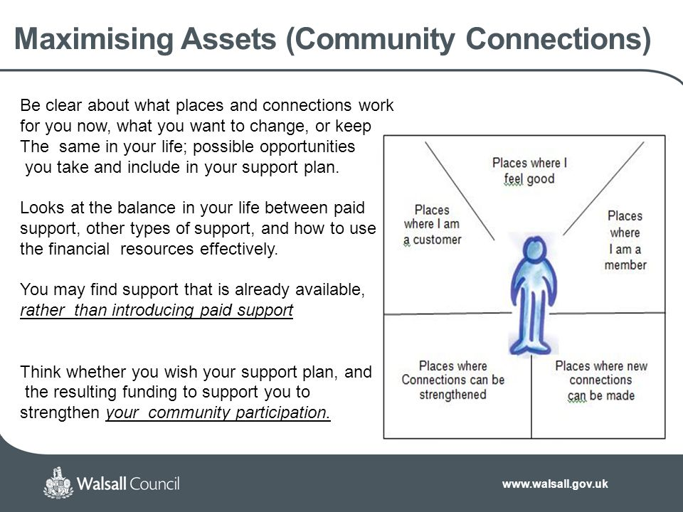 www.walsall.gov.uk Maximising Assets (Community Connections) Be clear about what places and connections work for you now, what you want to change, or keep The same in your life; possible opportunities you take and include in your support plan.