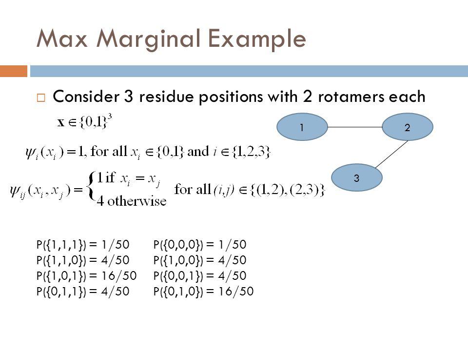 Max Marginal Example Cont.