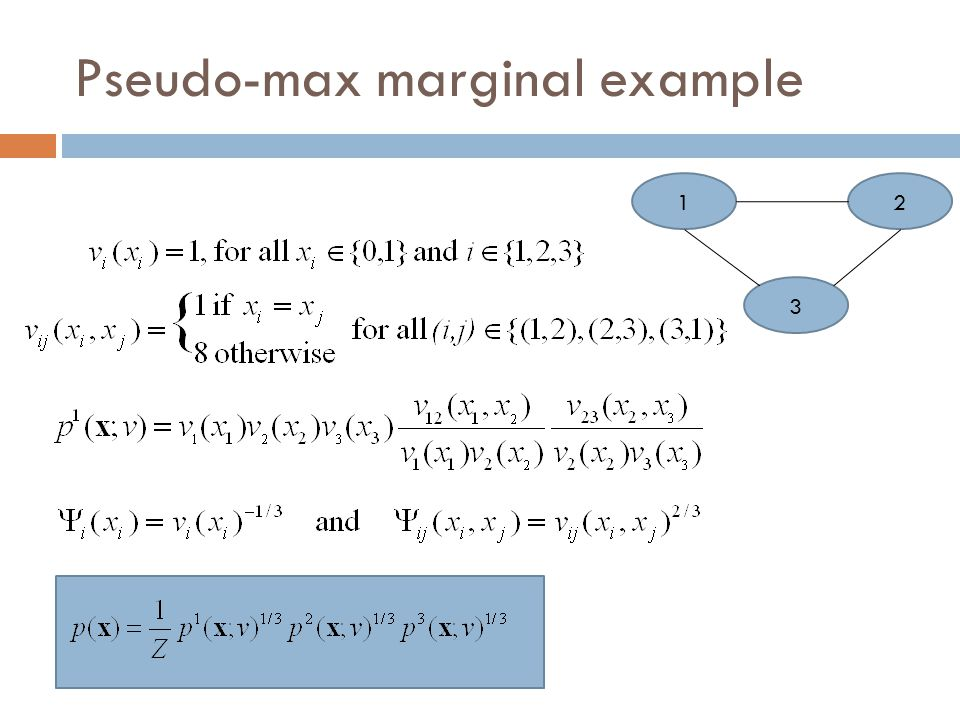 Tree-reweighted max-product algorithm (TRMP)  Edge-based reparameterization update algorithm to find pseudo max-marginals  Maintains the ρ -reparameterization criteria  Upon convergence, satisfies the tree-consistency condition , that the pseudo-max-marginals converge to the max-marginals of each tree distribution