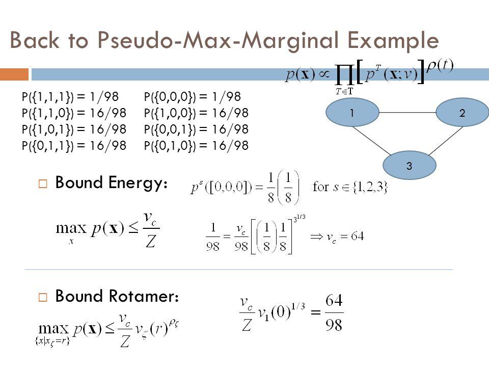 Back to Pseudo-Max-Marginal Example  Bound Energy:  Bound Rotamer: P({1,1,1}) = 1/98 P({1,1,0}) = 16/98 P({1,0,1}) = 16/98 P({0,1,1}) = 16/98 P({0,0,0}) = 1/98 P({1,0,0}) = 16/98 P({0,0,1}) = 16/98 P({0,1,0}) = 16/98 1 3 2