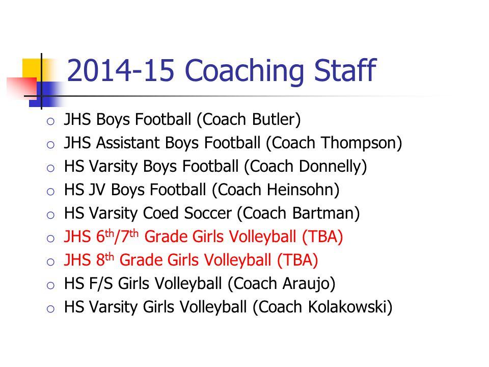 2014-15 Coaching Staff o JHS Boys Football (Coach Butler) o JHS Assistant Boys Football (Coach Thompson) o HS Varsity Boys Football (Coach Donnelly) o