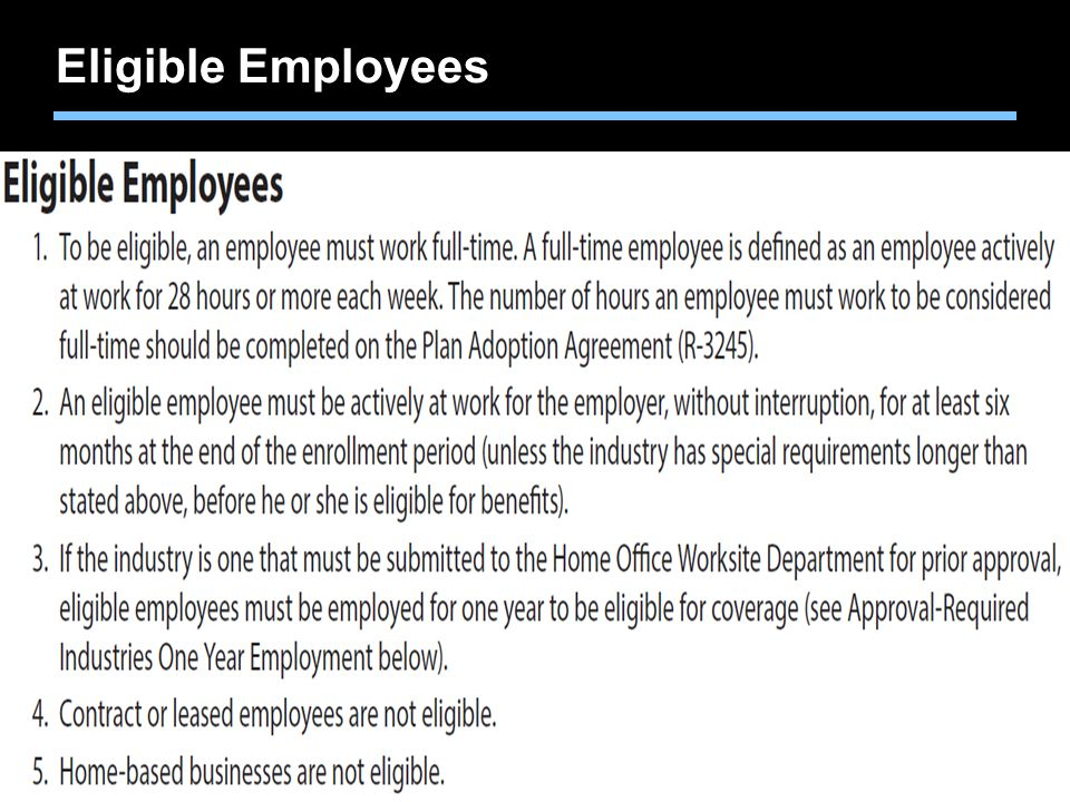 Agent training only. Not for sales use. Eligible Employees