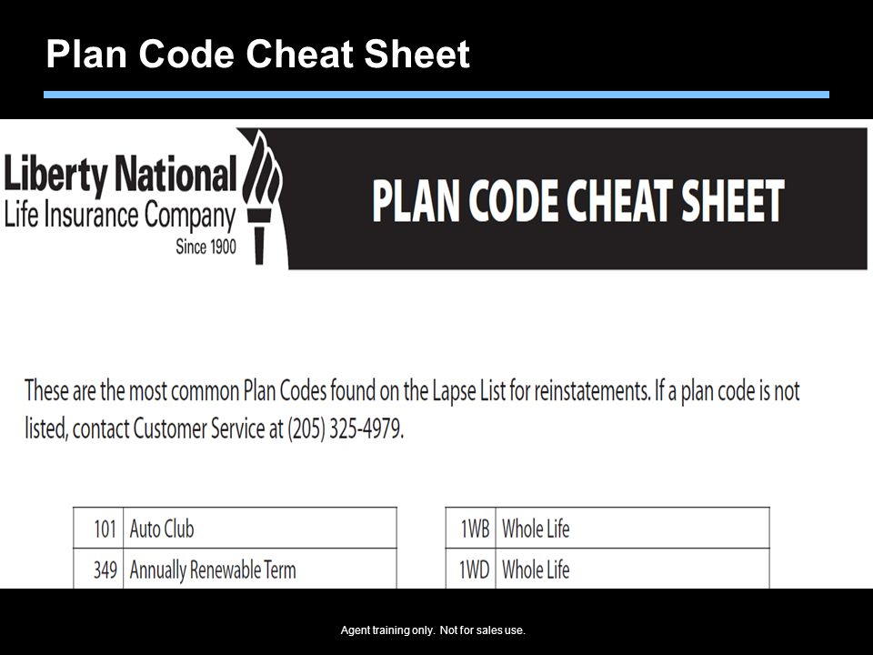 Agent training only. Not for sales use. Plan Code Cheat Sheet