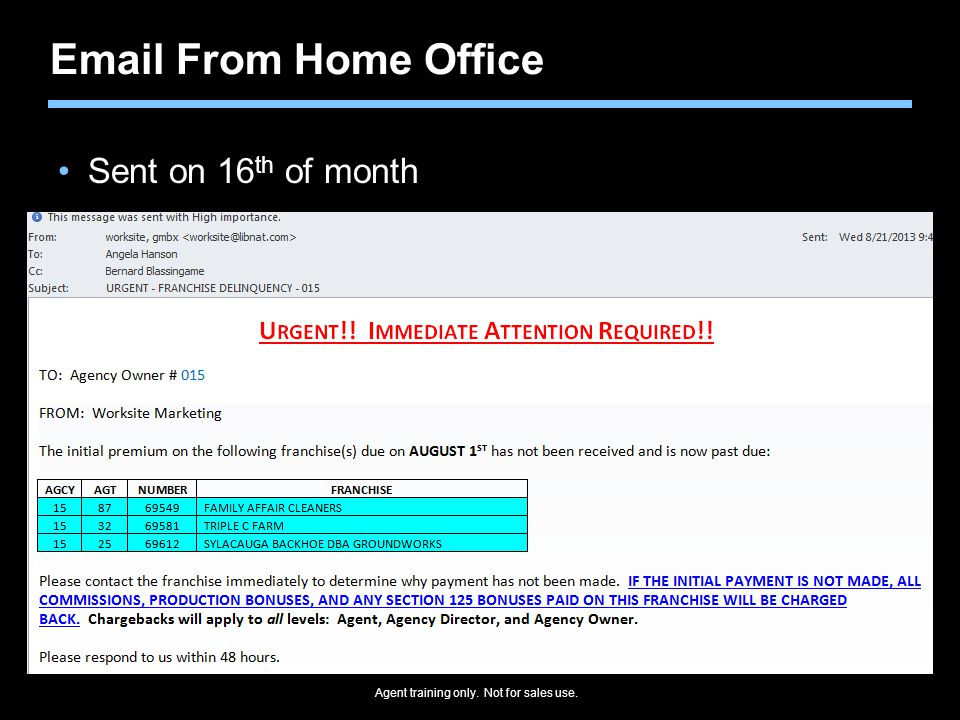 Agent training only. Not for sales use. Email From Home Office Sent on 16 th of month